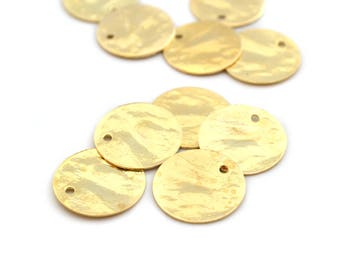 5 sequins round 15mm light gold plated with fine gold
