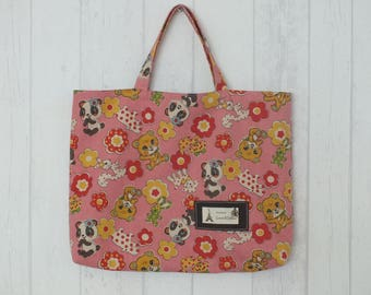 Bag of linen and cotton, pink antique panda for girl and floral print
