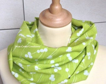 Fabric crepe printed lime white stems women tube scarf