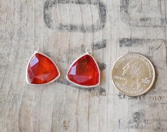 Faceted BLOOD ORANGE bezel set Charms pendants - 22x19x6mm (2115)