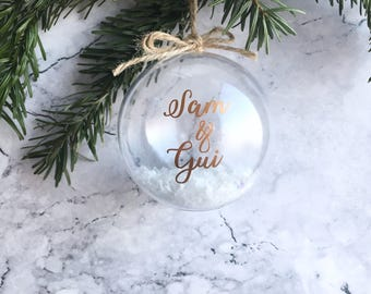 Christmas bauble, Personalised Bauble, Tree Decoration, Personalized Gift, Newlywed, First Christmas, Memorial Decorations, Mr and Mrs, Baby