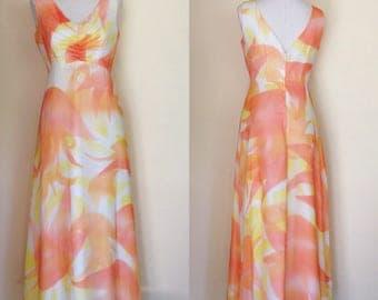 Vintage Chiffon Dress and Wrap | 70s Maxi Dress | Retro Prom