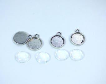 Lot 4 pendants silver cabochon 10MM + 4 glass domes