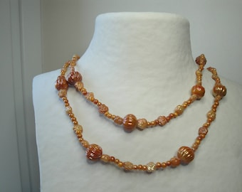 Caramel brown glass beads long necklace
