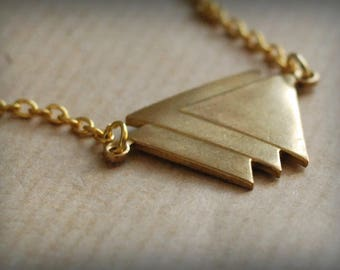 Gold minimalist necklace Geometric Triangles
