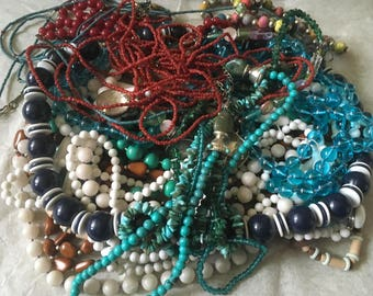 Z 12, vintage to now mixed beaded necklace lot, wear, resell. Assorted lengths