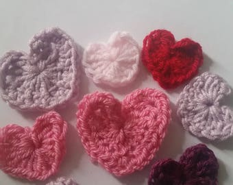8 Pink crochet heart applique
