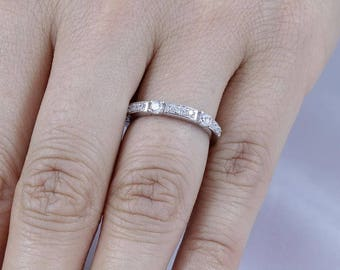 925 Sterling Silver Half Eternity Wedding Band Engagement Ring Women's Size 3-12 SS774