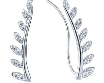 925 Sterling Silver Cz Stone Cubic Zirconia Vines Leaves Earrings Studs SME2859