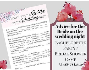 Advice For The Bride Bachelorette Party Game, Printable Bachelorette Game, Bridal Shower Game, Hens Night Game,