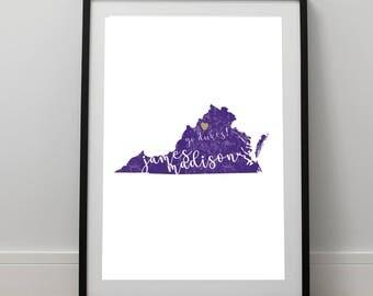 James Madison University / Harrisonburg / JMU Print / Dukes Print / Virginia Print / Dukes / 8.5 x 11 Print