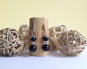 Black ball pierced earrings