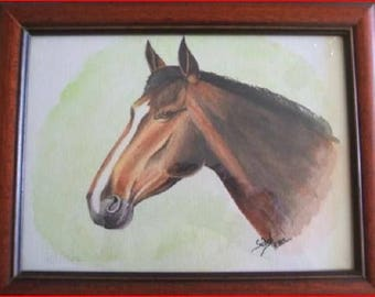 """""""Animal (horse Portrait)' watercolor on canson paper, framed"""