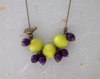 Necklace wood jade bird bead ball chain