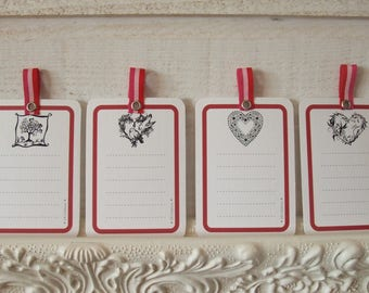 Set of 8 cards red heart Theme (n ° 2)