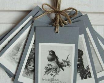 Set of 10 labels Christmas (No. 6) Vintage / grey