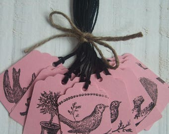 Set of 11 labels on the theme of birds (pink paper)