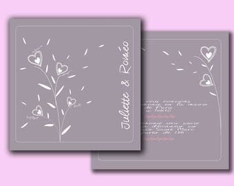 graphic hearts wedding invitation / / 14.8x14.8 cm double-sided wrinkle free / / personalized