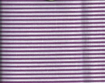 Fabric STRIPED: striped White & purple (45x45cm) 100% fine cotton
