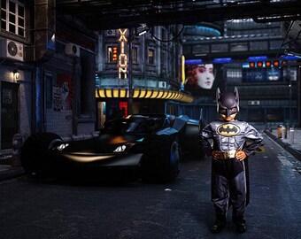 Superhero Digital Background, Batman Background, Digital Backdrop, Cosplay Background, Batman Backdrop, Batmobile, Dark City Backdrop