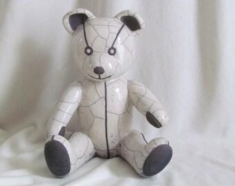 Teddy bear Bruno enameled white Raku firing