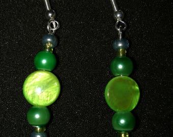 298. Green Glass Beaded Earrings