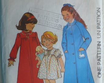 Children's Nightdress, Nightgown, Dressing Gown, Housecoat Pattern - Vintage Style 1715 - Size 6