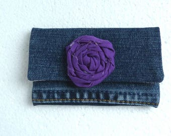 Purple recycled jean Denim wallet