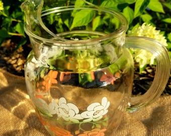 Vintage Wildrose Glass Pitcher
