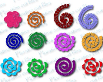 Paper Flower Template, paper flower roll, rolled paper flower, flower roll svg, DIY Flowers, Paper Flowers, paper quilling, Cricut Cut File