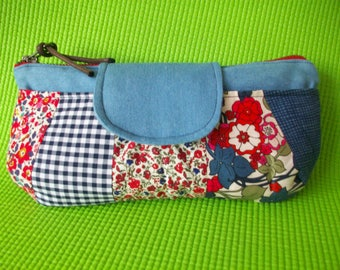 Blue and Pink Floral Patchwork Purse