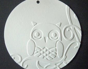 SCRAPBOOKING Lot Punch tag embossed OWL