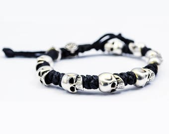 Waxed Cord Knots Bracelet With 925 Silver Skulls
