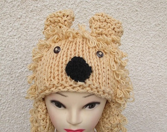 wool hand knitted lion Hat
