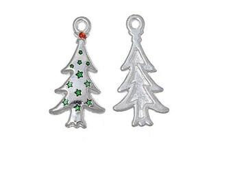 x 1 charm pendant 26 mm silver metal Christmas tree.