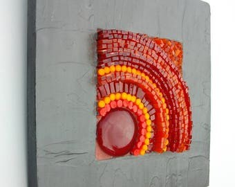 "Contemporary painting ""Magma"" - glass and Murano"