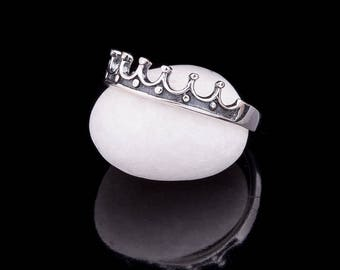 Rhodium-plated 925, Sterling Silver Crown Ring, Princess Ring,  Crown Ring, Sterling Silver Crown Ring, Sturdy Crown Ring