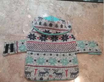 Cozy fair Isle sweater dog jacket