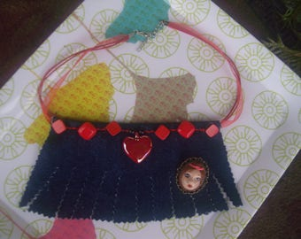 Textile necklace in denim * doll...