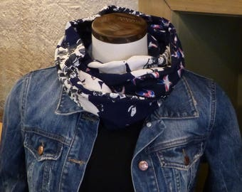 FX82 snood scarf tissue fluid Jersey Navy print swallows and flowers