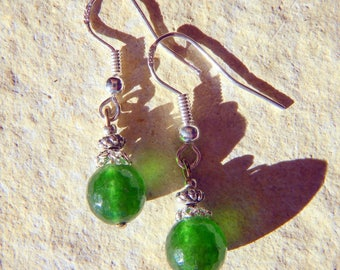 GREEN FACETED AGATE STONE 925 SILVER EARRINGS