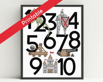 Knight Number Poster, Printable, Nursery Art, Fairy Tale Wall Art, 123,  Kids Medieval Decor, Dragon, Castle, Cannon, Instant download