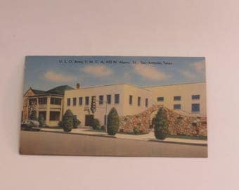 Early 1940s San Antonio  Postcard  - U.S.O. Army YMCA