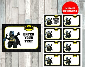 50% OFF Lego Batman Printable Cards, tags, book labels, stickers, kids cards, gift tags, labeling, scrapbooking - type your own text
