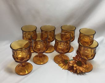 Cordial Small Wine Glasses King's Crown Thumbprint Amber Tiffin - set of 8