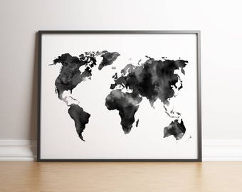 World map download etsy watercolor world map digital print instant download printable wall decor black and white gumiabroncs Images