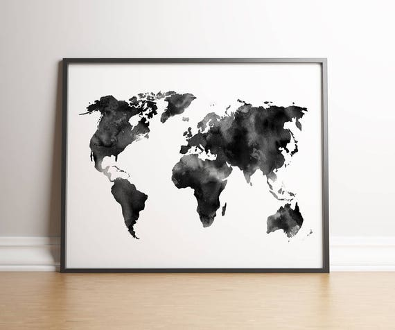 Watercolor world map digital print instant download printable wall watercolor world map digital print instant download printable wall decor black and white poster card trendy travel map from katemacateart on etsy gumiabroncs Gallery