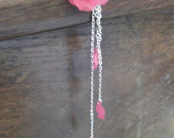 three petals dark pink flower necklace
