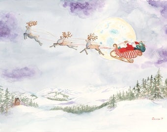 """Dashing Through the Snow Christmas Card Set 5"""" x 7"""" Seven Folded Note Cards printed on 100 lb weight paper with satin cover with envelopes"""