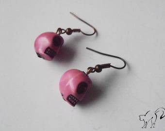 Bronze Pearl Earrings skull / skull rose